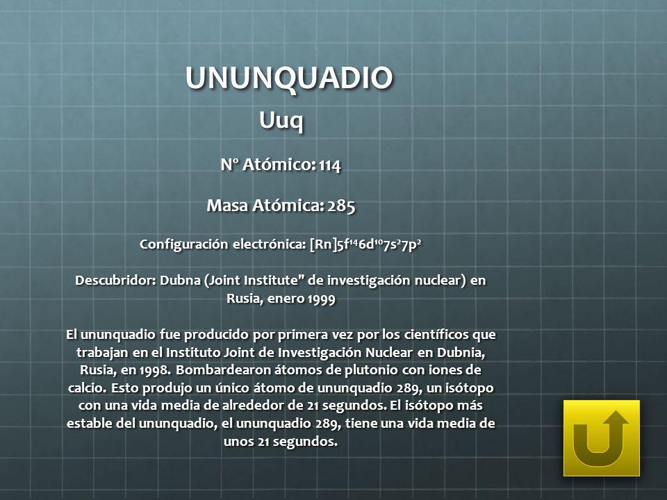 Configuración electrónica: [Rn]5f146d107s27p2